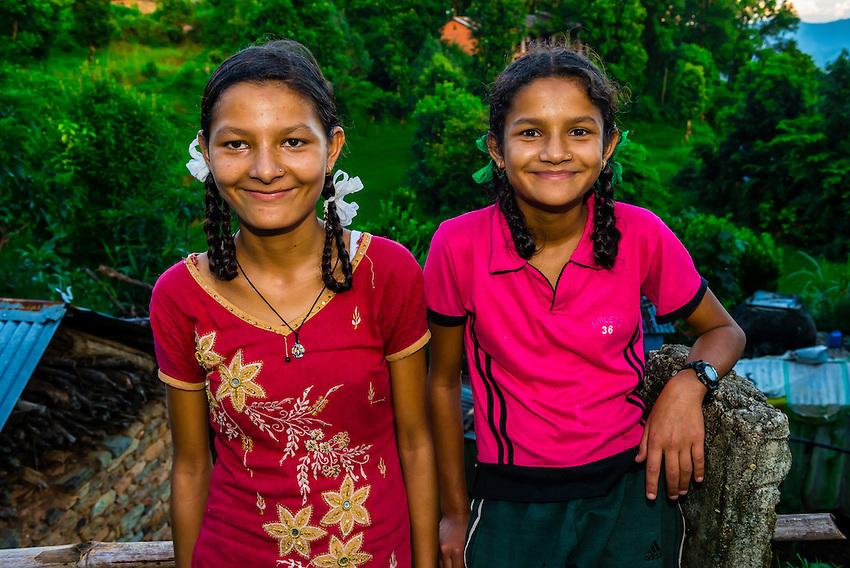 Nepalese girls, Lekhnath, above the Pokhara Valley, Nepal.