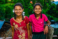 Nepalese girls, Lekhnath, above the Pokhara Valley, Nepal.