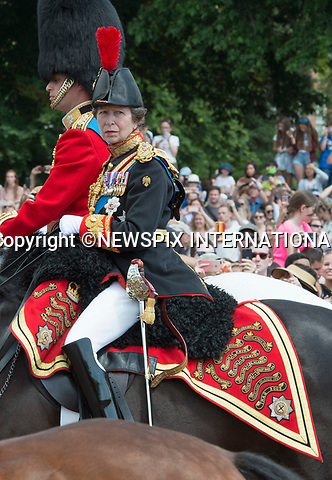17.06.2017; London, UK: PRINCESS ANNE<br /> attends the Trooping The Colour to celebrate the Queen&rsquo;s 91st Official Birthday<br /> Royals present included the Duke of Edinburgh, Prince Charles and Camilla, Duchess of Cornwall, Prince William, Kate Middleton, Prince George; Princess Charlotte; Prince Harry, Prince Andrew; Princess Beatrice, Princess Eugenie, Prince Edward, Princess Anne, Zara Phillips &amp; Mike Tindal, Prince and Princess Michael Of Kent, Lady Helen Taylor, Duke of Kent, Duke of Gloucester and Duchess of Gloucester,Peter Phillips and Autumn and Lady Amelia Windsor.<br /> Mandatory Credit Photo: &copy;Francis Dias/NEWSPIX INTERNATIONAL<br /> <br /> IMMEDIATE CONFIRMATION OF USAGE REQUIRED:<br /> Newspix International, 31 Chinnery Hill, Bishop's Stortford, ENGLAND CM23 3PS<br /> Tel:+441279 324672  ; Fax: +441279656877<br /> Mobile:  07775681153<br /> e-mail: info@newspixinternational.co.uk<br /> Usage Implies Acceptance of OUr Terms &amp; Conditions<br /> Please refer to usage terms. All Fees Payable To Newspix International