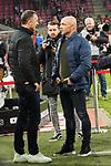 08.11.2019, RheinEnergieStadion, Koeln, GER, 1. FBL, 1.FC Koeln vs. TSG 1899 Hoffenheim,<br />  <br /> DFL regulations prohibit any use of photographs as image sequences and/or quasi-video<br /> <br /> im Bild / picture shows: <br /> Achim Beierlorzer Trainer, Headcoach (1.FC Koeln), und Alfred Schreuder Cheftrainer (Hoffenheim), unterhalten sich <br /> <br /> Foto © nordphoto / Meuter