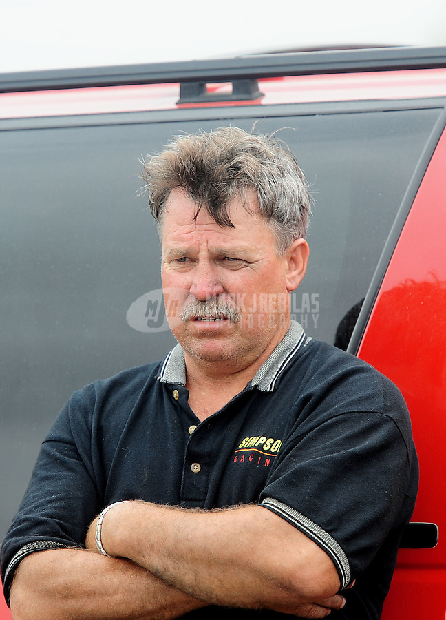 Apr. 30, 2011; Baytown, TX, USA: NHRA top fuel dragster driver Todd Simpson during qualifying for the Spring Nationals at Royal Purple Raceway. Mandatory Credit: Mark J. Rebilas-