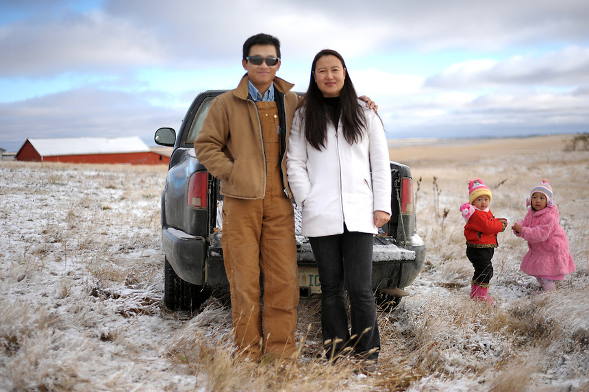 Sheldon Zou immigrated from China to Ogema, Saskatchewan in 2008. Zou, his wife Linda and daughters Jennifer and Angela now own over 4,00 acres of land in the tiny community 115 kilometres south of Regina. MARK TAYLOR FOR THE GLOBE AND MAIL.