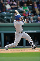 Infielder Max George (3) of the Asheville Tourists bats in a game against the Greenville Drive on Sunday, April 10, 2016, at Fluor Field at the West End in Greenville, South Carolina. Greenville won, 7-4. (Tom Priddy/Four Seam Images)