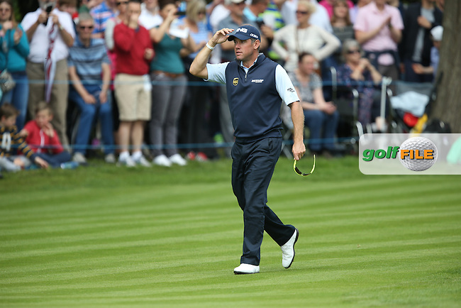 Lee Westwood (ENG) approaching the last to thunderous cheer during the Final Round of the 2015 BMW PGA Championship over the West Course at Wentworth, Virginia Water, London. 24/05/2015. Picture David Lloyd | www.golffile.ie.