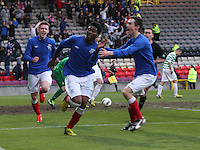 Junior Ogen after scoring his second goal in the Celtic v Rangers City of Glasgow Cup Final match played at Firhill Stadium, Glasgow on 29.4.13,  organised by the Glasgow Football Association and sponsored by City Refrigeration Holdings Ltd.