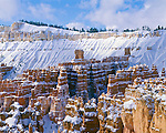 Bryce Canyon National Park, UT:  Fresh snow on hoodos of the Silent City and ridges under the Inspiration Point rim