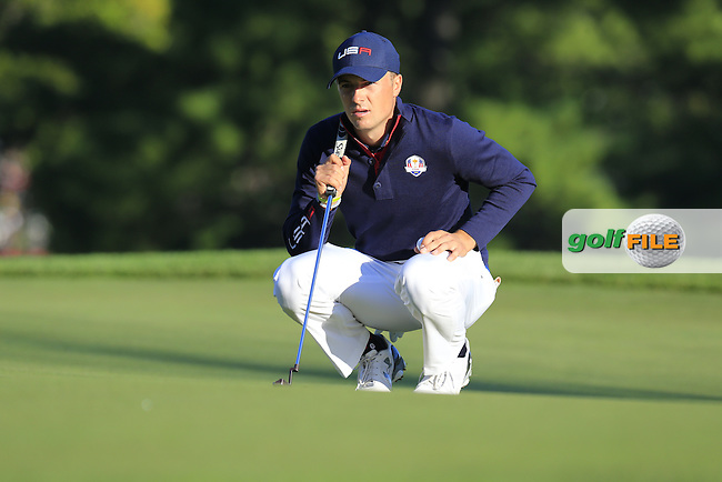 Jordan Spieth US Team lines up his putt on the 3rd green during Saturday Morning Foursomes Matches of the 41st Ryder Cup, held at Hazeltine National Golf Club, Chaska, Minnesota, USA. 1st October 2016.<br /> Picture: Eoin Clarke | Golffile<br /> <br /> <br /> All photos usage must carry mandatory copyright credit (&copy; Golffile | Eoin Clarke)