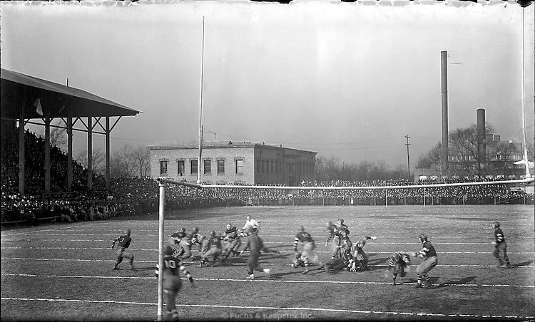 A football game, circa 1915, on the camus of the Case Western University in Cleveland.