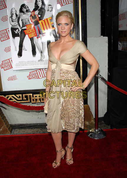 "BRITTANY SNOW.Los Angeles Premiere of ""John Tucker Must Die"" held at The Grauman's Chinese Theatre in Hollywood, California  .July 25th, 2006.Ref: DVS.full length beige dress hand on hip gold shoes clutch purse.www.capitalpictures.com.sales@capitalpictures.com.©Debbie VanStory/Capital Pictures"