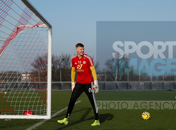 Jake Eastwood of Sheffield Utd during the Press Conference & Training at the Steelphalt Academy, Sheffield. Picture date: 7th February 2020. Picture credit should read: Simon Bellis/Sportimage