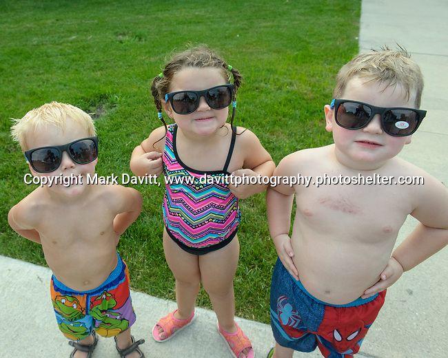 Indianola Park and Recreations hosted cardboard boat races at the Veteran's Memorial Aquatic Center July 22. Jayde Bradley, Warner and Thiessen Allen-Cosimo all three prepared for a sunny day. It was overcast but they kept their cool.