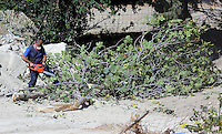 Pictured: A worker cuts down the fig tree that ws located behind the farmhouse where Ben Needham disappeared from in Kos, Greece. Wednesday 05 October 2016<br />