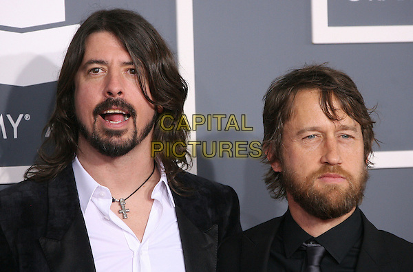 Dave Grohl, Chris Shiflett of Foo Fighters.The 54th Annual GRAMMY Awards held at the Staples Center, Los Angeles, California, USA..February 12th, 2012.headshot portrait black white goatee beard facial hair mouth open.CAP/ADM.©AdMedia/Capital Pictures.