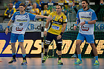 GER - Mannheim, Germany, September 23: During the DKB Handball Bundesliga match between Rhein-Neckar Loewen (yellow) and TVB 1898 Stuttgart (white) on September 23, 2015 at SAP Arena in Mannheim, Germany.  Kasper Kisum #10 of TVB 1898 Stuttgart Rafael Baena Gonzalez #16 of Rhein-Neckar Loewen, Dominik Weiss #6 of TVB 1898 Stuttgart<br /> <br /> Foto &copy; PIX-Sportfotos *** Foto ist honorarpflichtig! *** Auf Anfrage in hoeherer Qualitaet/Aufloesung. Belegexemplar erbeten. Veroeffentlichung ausschliesslich fuer journalistisch-publizistische Zwecke. For editorial use only.