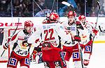 Stockholm 2013-12-28 Ishockey Hockeyallsvenskan Djurg&aring;rdens IF - Almtuna IS :  <br /> Almtuna Daniel Hermansson har kvitterat till 1-1 och jublar med lagkamrater <br /> (Foto: Kenta J&ouml;nsson) Nyckelord:  jubel gl&auml;dje lycka glad happy