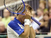 22-2-06, Netherlands, tennis, Rotterdam, ABNAMROWTT,Thomas Johansson is in desperation during his match against Tim Henman