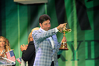 Jose Maria Olazabal with the Ryder Cup during the closing ceremony of the 39th Ryder Cup at Medinah Country Club, Chicago, Illinois  (Photo Colum Watts/www.golffile.ie)