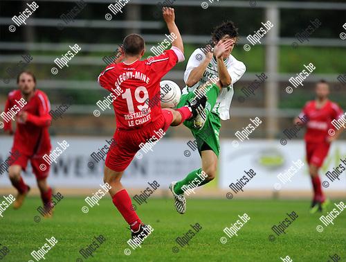 2011-08-13 / Voetbal / seizoen 2011-2012 / Dessel Sport - Blegny /  Godin (L) en Hans Hannes (Dessel) gaan vol risico voor de bal..Foto: mpics