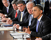 Washington, D.C. - January 4, 2010 -- United States President Barack Obama and Vice President Joseph Biden meet with a bipartisan group of Governors from across the country in the State Dining Room to discuss energy policy in Washington, D.C. on Wednesday, February 3, 2010.  From left to right: Governor Ted Strickland (Democrat of Ohio); Governor Bob Riley (Republican of Alabama), Chairman, Southern Governors Association; Governor Joe Manchin (Democrat of West Virginia), Vice Chairman, National Governors Association; Vice President Biden; President Obama..Credit: Ron Sachs / Pool via CNP
