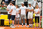 Blue Team, with Rudy Fernandez, Aitor Ocio, Mariam Hernandez, Feliciano Lopez, Rafa Nadal and Edurne during the Charity Day of the Mutua Madrid Open at Caja Magica in Madrid. April 29, 2016. (ALTERPHOTOS/Borja B.Hojas)