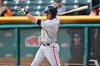 Joe Panik (2) of the Fresno Grizzlies at bat against the Salt Lake Bees at Smith's Ballpark on April 9, 2014 in Salt Lake City, Utah.  (Stephen Smith/Four Seam Images)