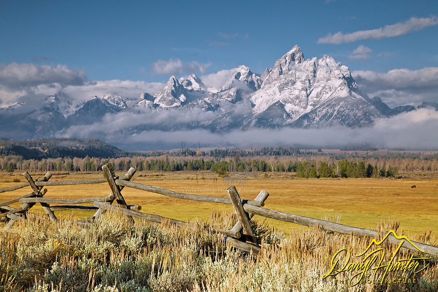The first snow on the Grand Tetons in Grand Teton National Park. A buckrail rail fence accents the western heritage of the Jackson Hole Valley.