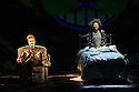 "London, UK. 01.12.2015. ""wonder.land"", a new musical inspired by Lewis Carroll's ""Alice in Wonderland"", created by Damon Albarn, Moira Buffini and Rufus Norris, opens at the National Theatre, in the Olivier. Picture shows: Hal Fowler (Cheshire Cat), Lois Chimimba (Aly). Photograph © Jane Hobson."