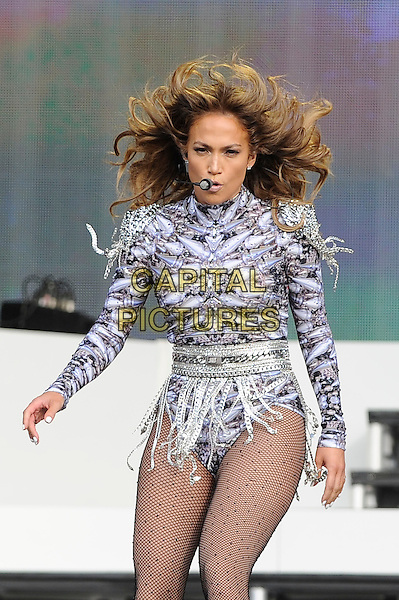 Jennifer Lopez <br /> performing at Barclaycard British Summertime, Hyde Park, London, England. <br /> 14th July 2013<br /> on stage in concert live gig performance music half length silver purple leotard tights dancing singing hair blowing  j-lo<br /> CAP/MAR<br /> &copy; Martin Harris/Capital Pictures