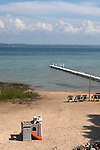 Small pier and boat dock on Lake Michigan in summer, Old Mission Peninsula, Lake Michigan, Traverse City area, Michigan, USA