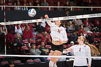 STANFORD, CA - December 1, 2017: Audriana Fitzmorris, Jenna Gray at Maples Pavilion. The Stanford Cardinal defeated the CSU Bakersfield Roadrunners 3-0 in the first round of the NCAA tournament.