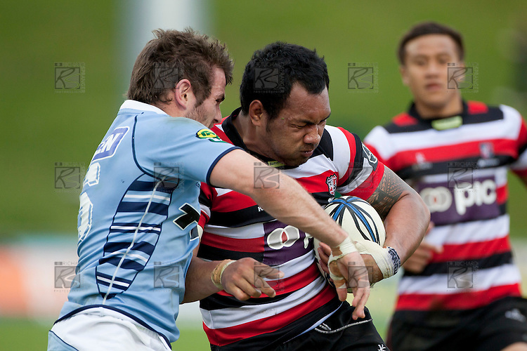 Taiasina Tuifua fights his way past the Northland tackler. ITM Cup rugby game between Counties Manukau Steelers and Northland, played at Bayer Growers Stadium, Pukekohe, on Sunday September 26th 2010..The Counties Manukau Steelers won 40 - 24 after leading 27 - 7 at halftime.