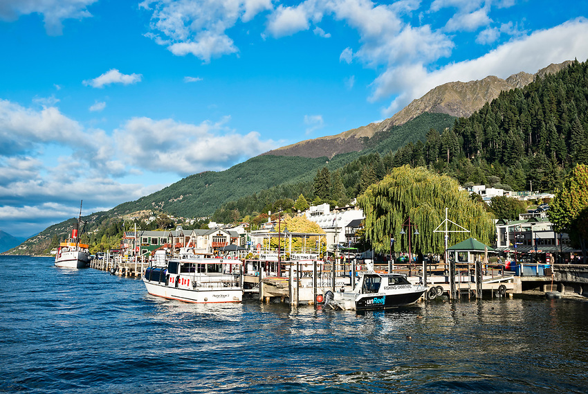 View of the Queenstown waterfront, on Lake Wakatipu, in early morning