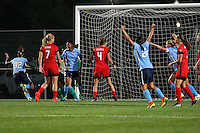 Piscataway, NJ - Sunday Sept. 25, 2016: Tasha Kai celebrates scoring, Samantha Kerr, Lindsey Horan, Maya Hayes, Emily Menges prior to a regular season National Women's Soccer League (NWSL) match between Sky Blue FC and the Portland Thorns FC at Yurcak Field.