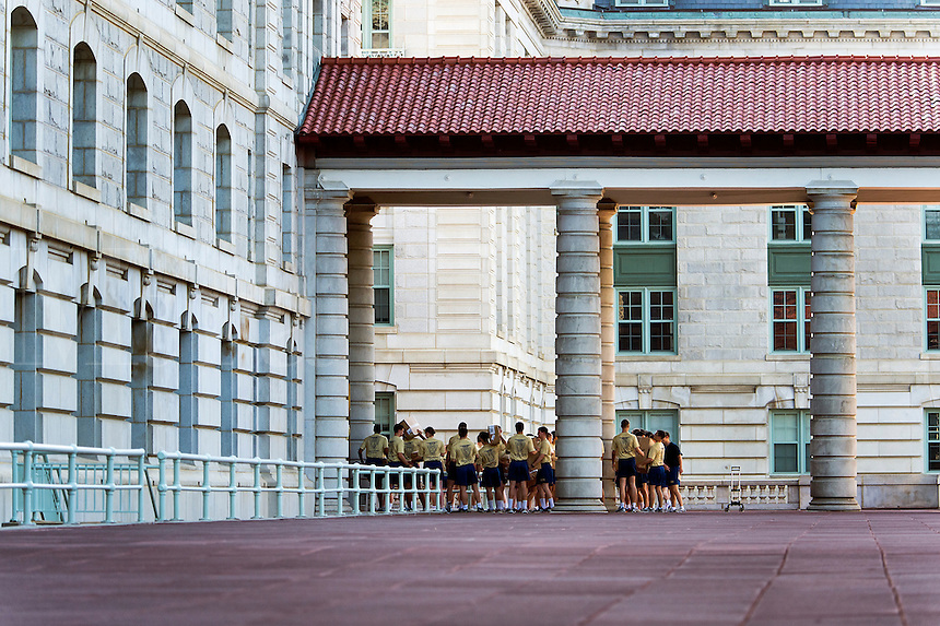 Plebes prepare for morning exercise at the US Naval Academy, Annapolis, Maryland, USA