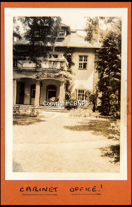 BNPS.co.uk (01202 558833)<br /> Pic: C&amp;T/BNPS<br /> <br /> The villa in Potsdam that became their 'Cabinet Office' in Berlin.<br /> <br /> A humble secretary's remarkable first hand archive of some of the most momentous events of WW2 has come to light.<br /> <br /> 'Miss Brenda Hart' worked in the Cabinet Office during the last two years of the war, travelling across the globe with the Allied leaders as the conflict drew to a close.<br /> <br /> Her unique collection of photographs and momentoes of Churchill, Stalin and other prominent Second World War figures have been unearthed after more than 70 years.<br /> <br /> The scrapbooks, which also feature Lord Mountbatten and Vyacheslav Molotov, were collated by Brenda Hart who, in her role as secretary to Churchill's chief of staff General Hastings Ismay, enjoyed incredible access to him and other world leaders.<br /> <br /> She also wrote a series of letters which give fascinating insights, including watching Churchill and Stalin shaking hands at the Bolshoi ballet in 1944, being behind Churchill as he walked out on to the balcony at the Ministry of Health to to wave to some 50,000 Londoners on VE day and even visiting Hitler's bombed out Reich Chancellery at the end of the war.<br /> <br /> This unique first hand account, captured in a collection of photos, passes, documents and letters are being sold at C&amp;T auctioneers on15th March with a &pound;1200 estimate.