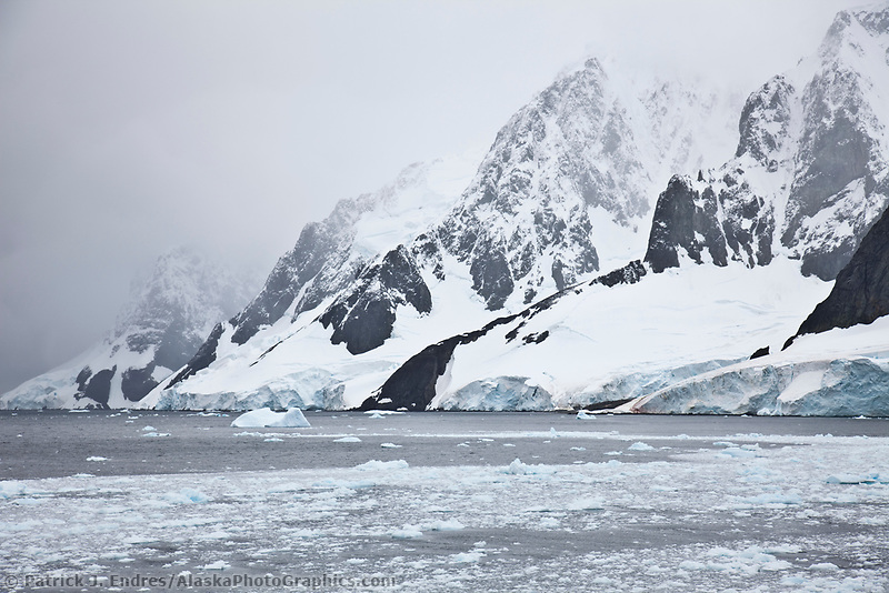 Floating icebergs near Lumiere Channel, western Antarctic Peninsula.