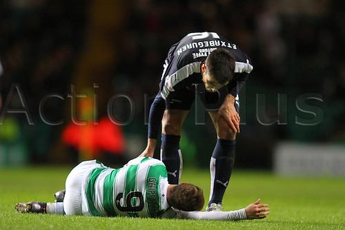 02.03.2016. Celtic Park, Glasgow, Scotland. Scottish Premier League. Celtic versus Dundee.Julen Etxabeguren checks on the injured Leigh Griffiths