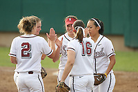 7 March 2008: Stanford Cardinal (not in order) Maddy Coon, Shannon Koplitz, Erikka Moreno, Ashley Chinn, and Michelle Smith during Stanford's 9-1 win against the Charleston Cougars in the Stanford Classic at the Boyd and Jill Smith Family Stadium in Stanford, CA.