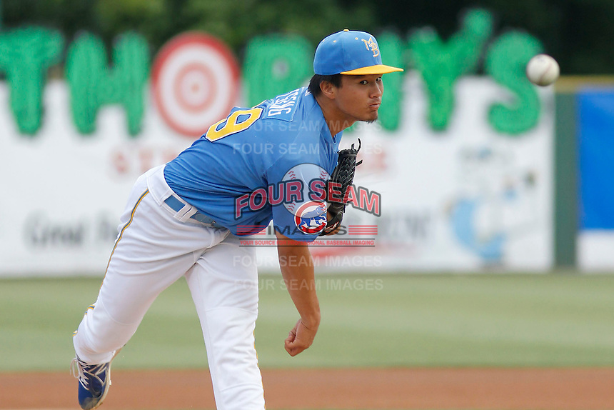 Myrtle Beach Pelicans pitcher Jen-Ho Tseng (19) on the mound during a game against the Potomac Nationals at Ticketreturn.com Field at Pelicans Ballpark on May 25, 2015 in Myrtle Beach, South Carolina. Myrtle Beach defeated Potomac 3-0. (Robert Gurganus/Four Seam Images)