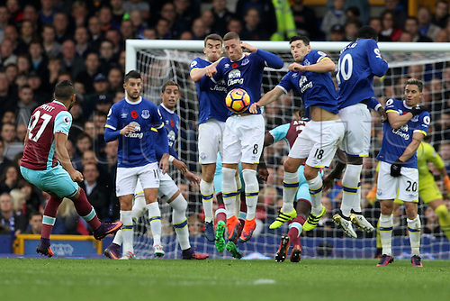30.10.2016. Goodison Park, Liverpool, England. Premier League Football. Everton versus West Ham United. Dmitri Payet of West Ham United sees his free kick blocked by the Everton defensive wall.