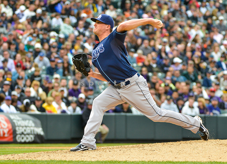 Tampa Bay Rays Jake McGee (57) during a game against the Colorado Rockies on May 5, 2013 at Coors Field in Denver, CO. The Rays beat the Rockies 8-3..