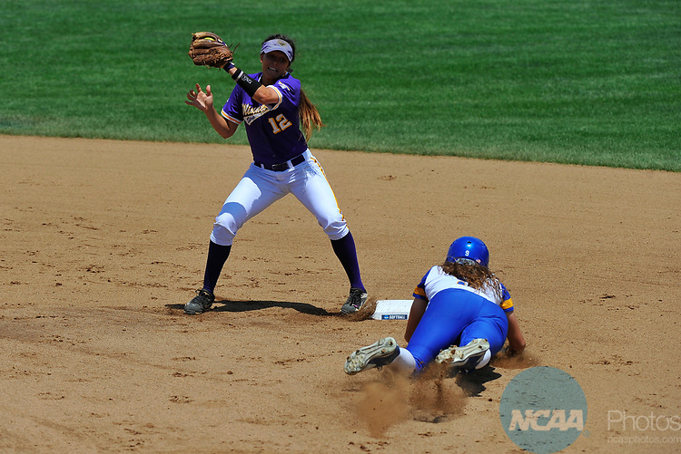 SALEM, VA - MAY 29:  Courtney Barnhill (9) of Angelo State University steals second base past Dana Mogren (12) of Minnesota State University during the Division II Women's Softball Championship held at Moyer Park on May 29, 2017 in Salem, Virginia. Minnesota State defeated Angelo State 5-1 to win the national championship. (Photo by Andres Alonso/NCAA Photos via Getty Images)