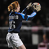 Garden City goalie No. 16 Caroline Peppard makes a save during the second half of a Nassau County varsity girls' soccer Class A semifinal against Island Trees at Cold Spring Harbor High School on Friday, October 30, 2015. Garden City won by a score of 2-0.<br /> <br /> James Escher