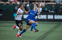 Seattle, WA - Saturday July 22, 2017: Samantha Kerr, Kristen McNabb during a regular season National Women's Soccer League (NWSL) match between the Seattle Reign FC and Sky Blue FC at Memorial Stadium.