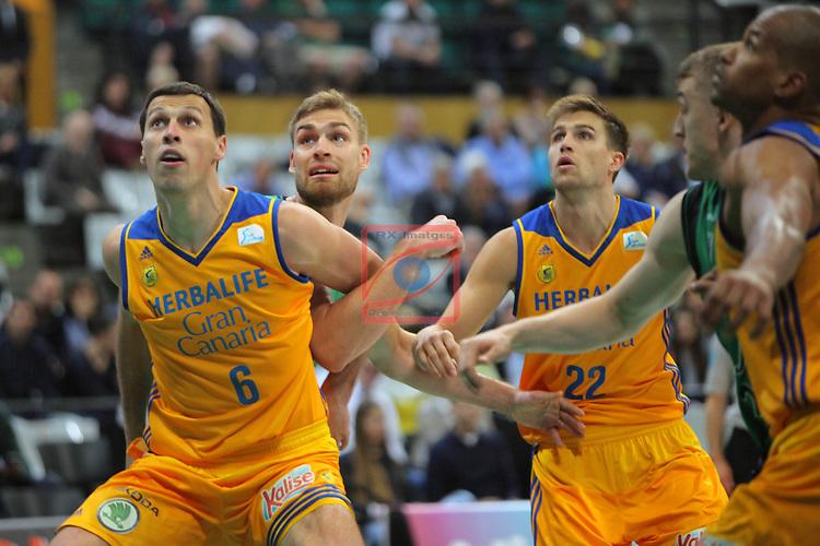 League ACB-ENDESA 2016/2017. Game: 28.<br /> Divina Seguros Joventut vs Herbalife Gran Canaria: 86-72.<br /> Darko Planinic, Garret Stutz &amp; Xavi Rabaseda.