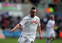 ATTENTION SPORTS PICTURE DESK<br /> Pictured: Stephen Dobbie with his new mohican hairstyle<br /> Re: npower Championship Swansea City FC v Leeds United at the Liberty Stadium, south Wales. Saturday 26 February 2011
