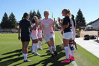 BERKELEY, CA - October 20, 2016: Cal Bears women's soccer team vs. the Utah Utes at Goldman Field. Final score, Cal Bears 1, Utah Utes 1.