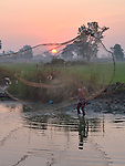 Brom Ra casts his fishing net at sunrise in the village of Dong in northern Cambodia.