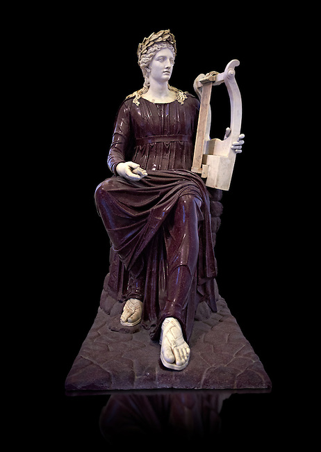 2nd century Roman sculpture of Apollo seated with lyre, sculpted in porphyry, inv no 6281,  The Farnese collection, Naples Archiological Musuem, Italy