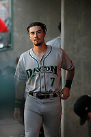 Dayton Dragons third baseman Jonathan India (7) in the dugout during a game against the Lansing Lugnuts at Cooley Law School Stadium on August 10, 2018 in Lansing, Michigan . Lansing defeated Dayton 11-4.  (Robert Gurganus/Four Seam Images)